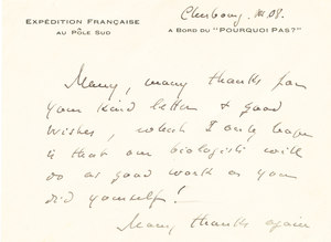 Image of Letter from Jean-Baptist Charcot sent to Thomas Hodgson K 12.13.1