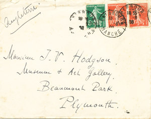 Image of Envelope from letter sent to Thomas Hodgson from Jean-Baptist Charcot K 12.13.2