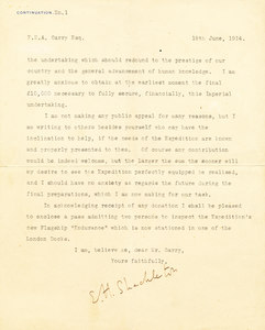 Image of Letter from Ernest Shackleton to FNA Garry appealing for a donation for the Endurance expedition. K 12.16