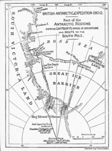 Image of Map showing Scott and Amundsen's routes to the pole ROY.30.2.46