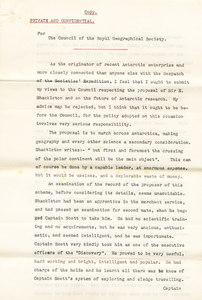 Image of Letter -Markham over doubts re. Shackleton's expedition DUNIH 1.099