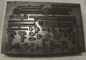 Image of Intaglio printing block of 'B' machine parts DUNIH 284.129