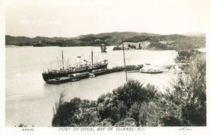 Image of Postcard of Port of Opua, Bay of Islands, New Zealand DUNIH 2016.6.12
