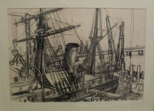 Image of Charcoal Drawing of RRS Discovery by Allan Beveridge, 2015 DUNIH 2016.7.3