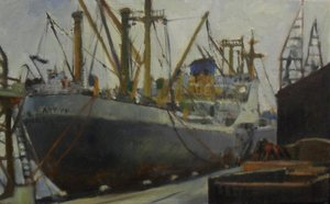 Image of 'Jute Ship' by Allan Beveridge, dated 1977 DUNIH 2016.7.6