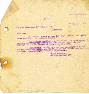 Image of Letter from J. Cargill Ltd. to Hukumchand Jute Mills Ltd., 1st April 1947 DUNIH 2016.11.87
