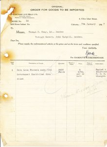 Image of Letter from Hukumchand Jute Mills Ltd. to T. C. Keay, 7th February 1947 DUNIH 2016.11.119