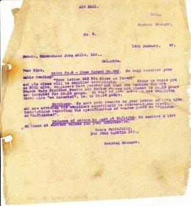 Image of Letter from J. Cargill Ltd. to Hukumchand Jute Mills Ltd., 14th January 1947 DUNIH 2016.11.120