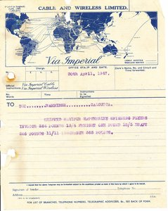 Image of Telegram to DLT Rambingh Calcutta, 30th April 1947 DUNIH 2016.11.123
