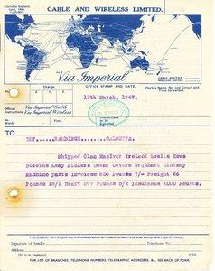Image of Telegram to DLT Rambingh Calcutta, 13th March 1947 DUNIH 2016.11.124