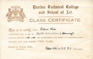 Image of Jute Calculations (Spinning) Certificate from Dundee Technical College DUNIH 2017.14.5.5