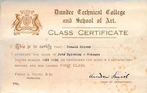 Image of Jute Spinning (Honours) Certificate from Dundee Technical College DUNIH 2017.14.5.6