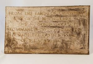 Image of Replica plaque from Trygge Gran North Sea Crossing Memorial DUNIH 2014.5.2
