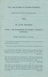 Image of City and Guild Exam Paper- Jute Spinning Grade I, dated 1942 DUNIH 2017.15.2.1