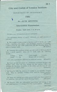 Image of City and Guild Exam Paper- Jute Spinning (Intermediate), dated 1951 DUNIH 2017.15.2.3