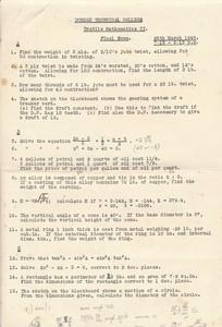 Image of Dundee Techincal College Exam Paper-Textile Mathematics II DUNIH 2017.15.2.7