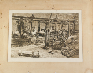 Image of Print showing hand spinning and handloom weaving DUNIH 2017.26