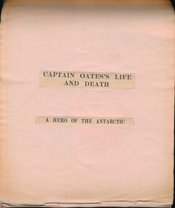 Image of Scrapbook relating to Captain Oates and the Antarctic DUNIH 2017.29