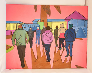 Image of 'Sunset Parade', Oil Painting by Nicola Wilsthire DUNIH 2017.36.1