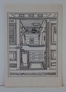 Image of Christmas card featuring drawing of RRS Discovery's wardroom DUNIH 2018.18